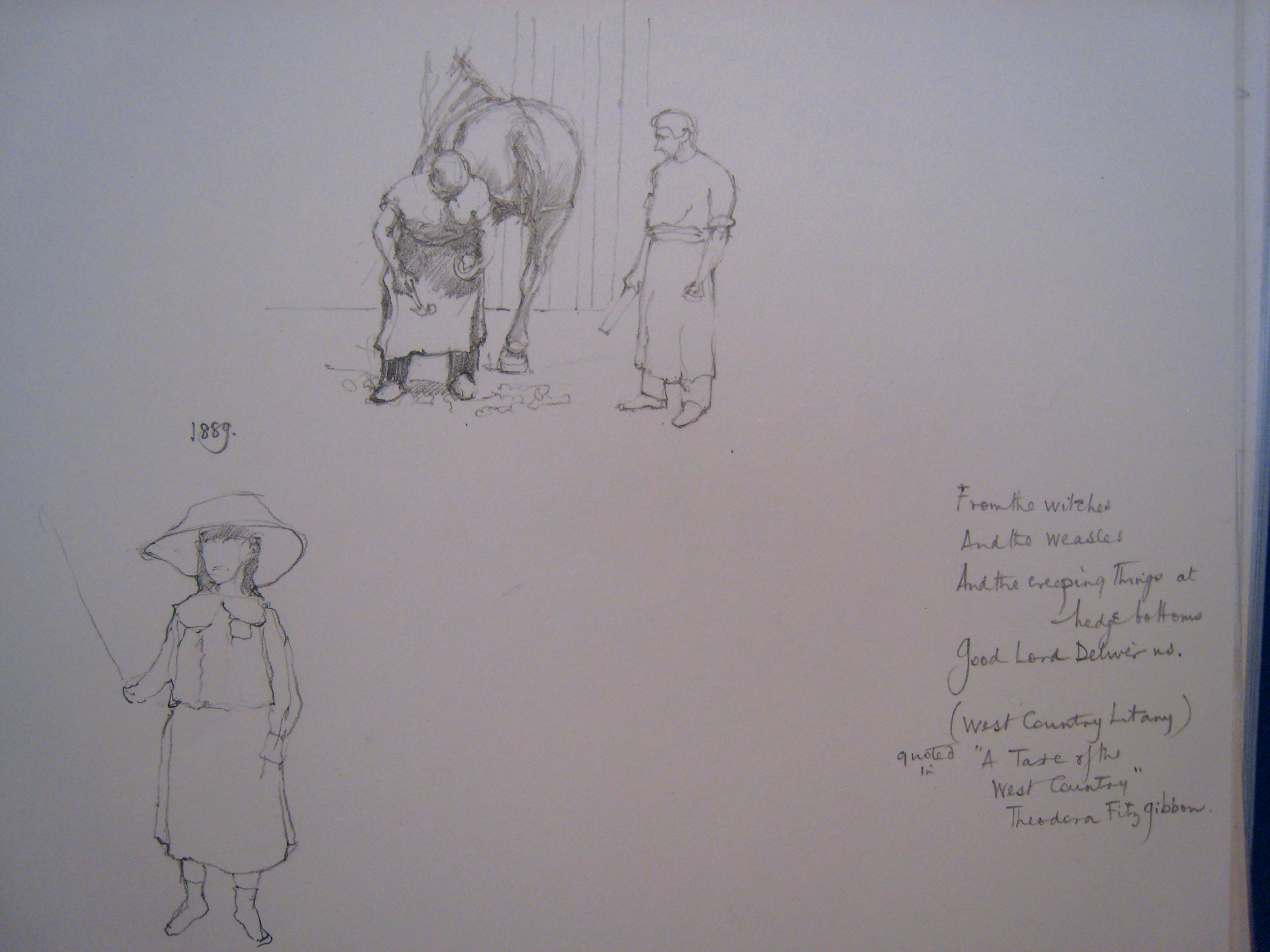 APM two sketches Farriery and Girl