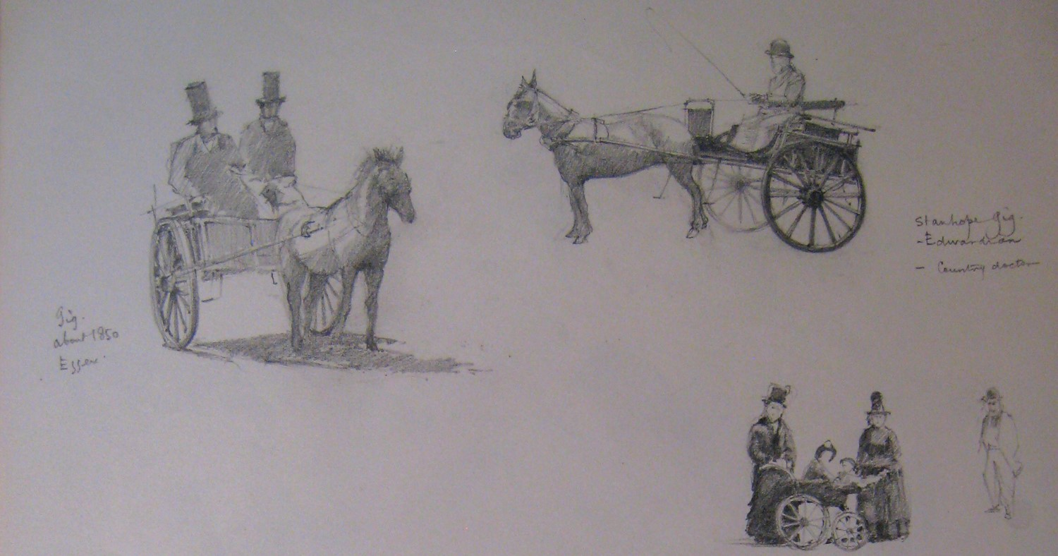 Two horse gigs and a perambulator