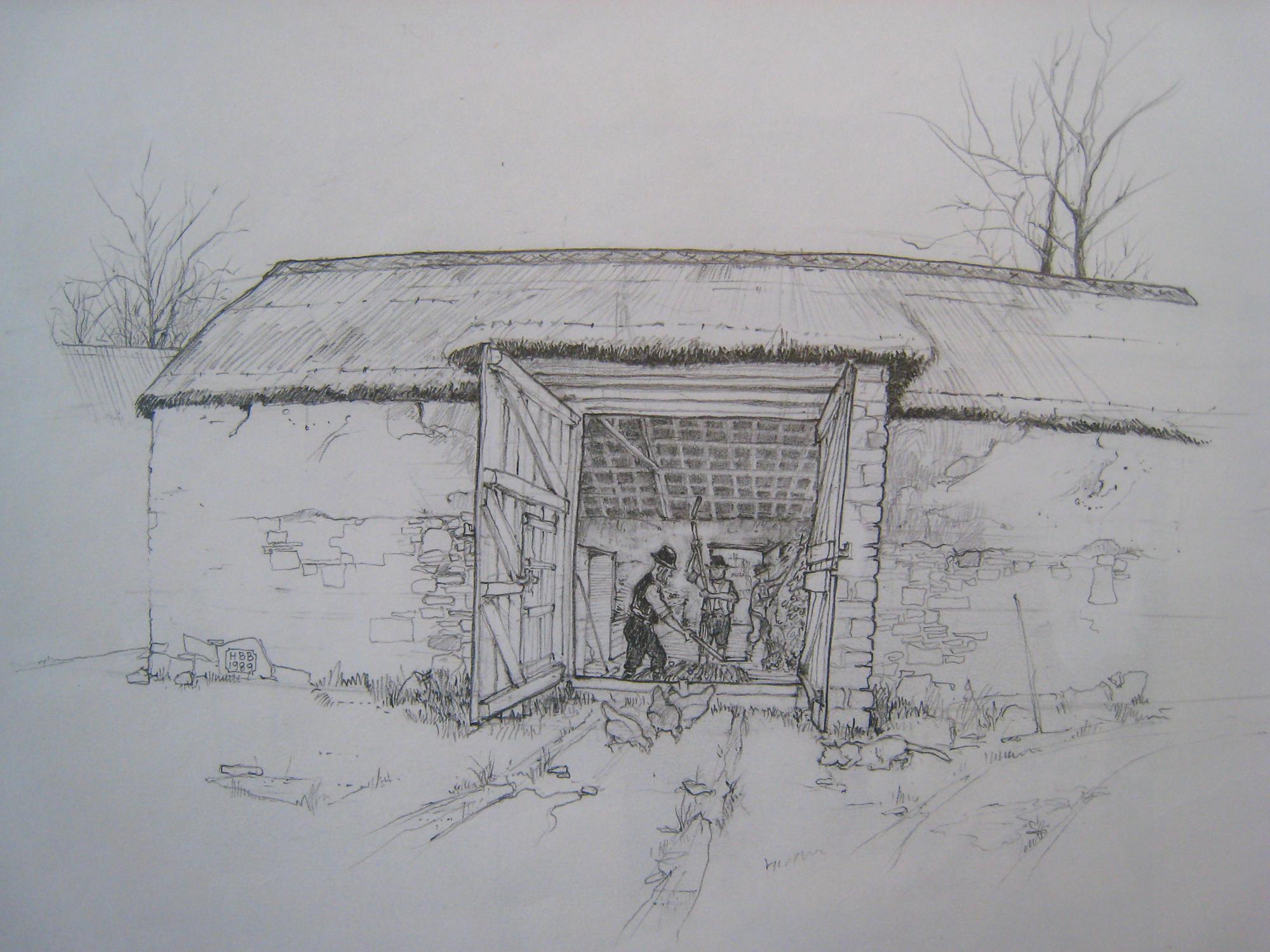 APM Threshers threshing in barn