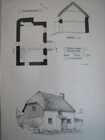 drawing and plan of Bidlake Cottage, Germansweek, 1989