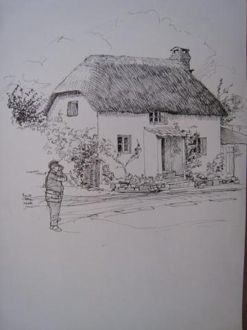 drawing of Bidlake Cottage, Germansweek, 1984