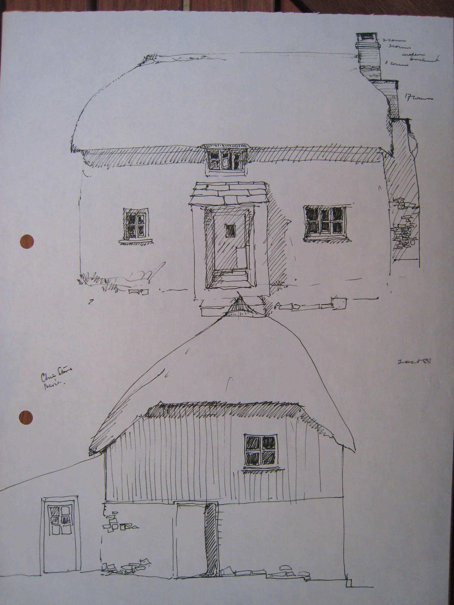 front and side drawings of Bidlake Cottage, Germansweek, 1988