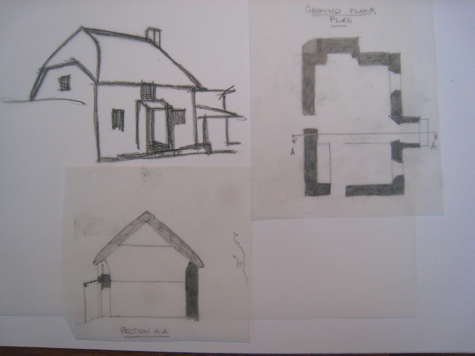 simplified drawing and plan of Bidlake Cottage, Germansweek