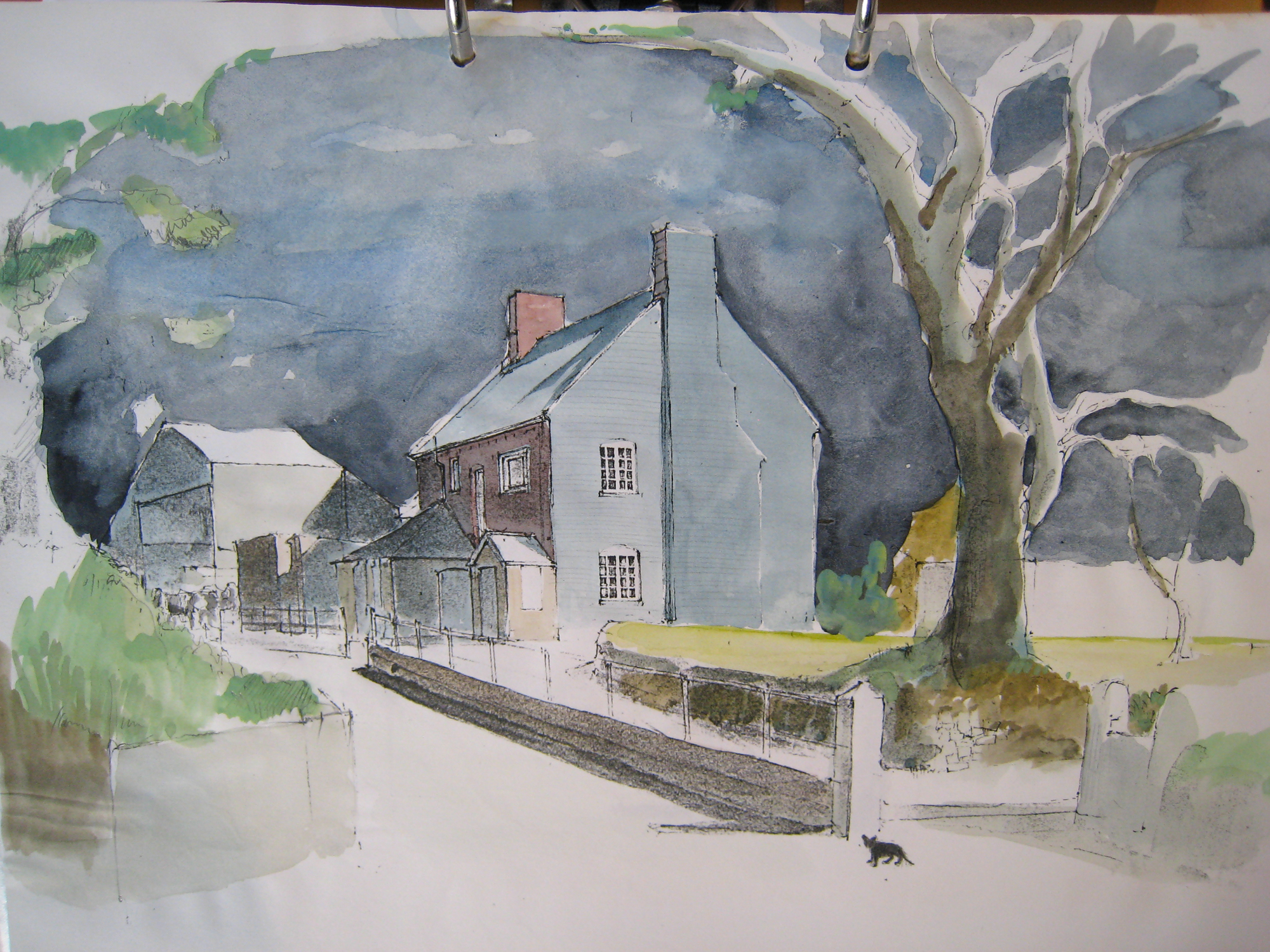 painting of Bovey Farm house, Germansweek, with kitten