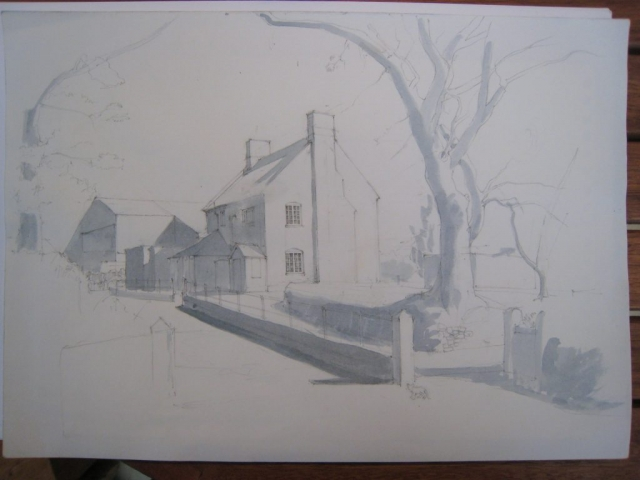 early stage drawing of Bovey Farm house with kitten