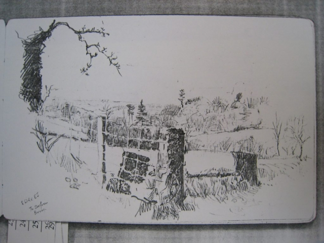 view to South-West from Bovey (low quality photocopy of drawing)