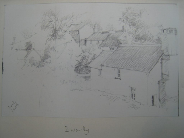 Eworthy view, sketch Brian Blakeway, 6 October 1987