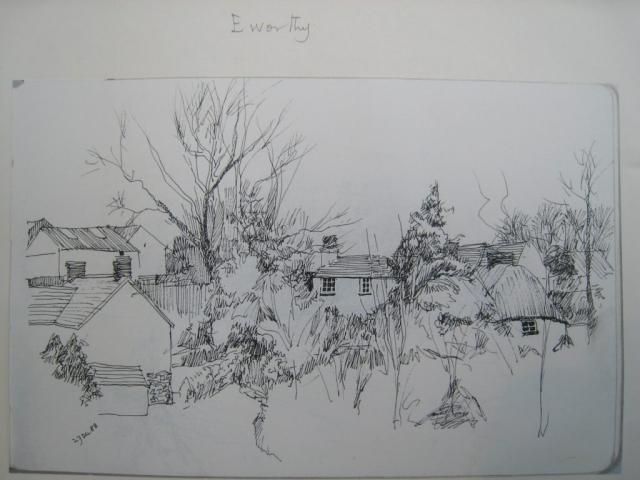 Eworthy view, sketch Brian Blakeway, 27 December 1988