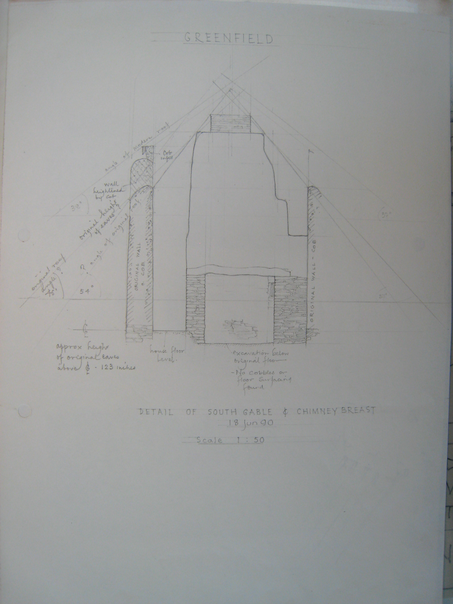 Eworthy: Greenfield Cottage south gable and chimney breast, drawing