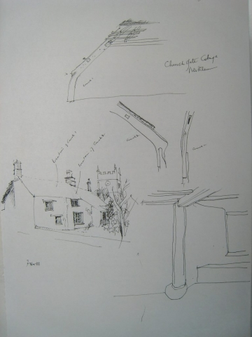 Church Gate Cottage Northlew early sketches