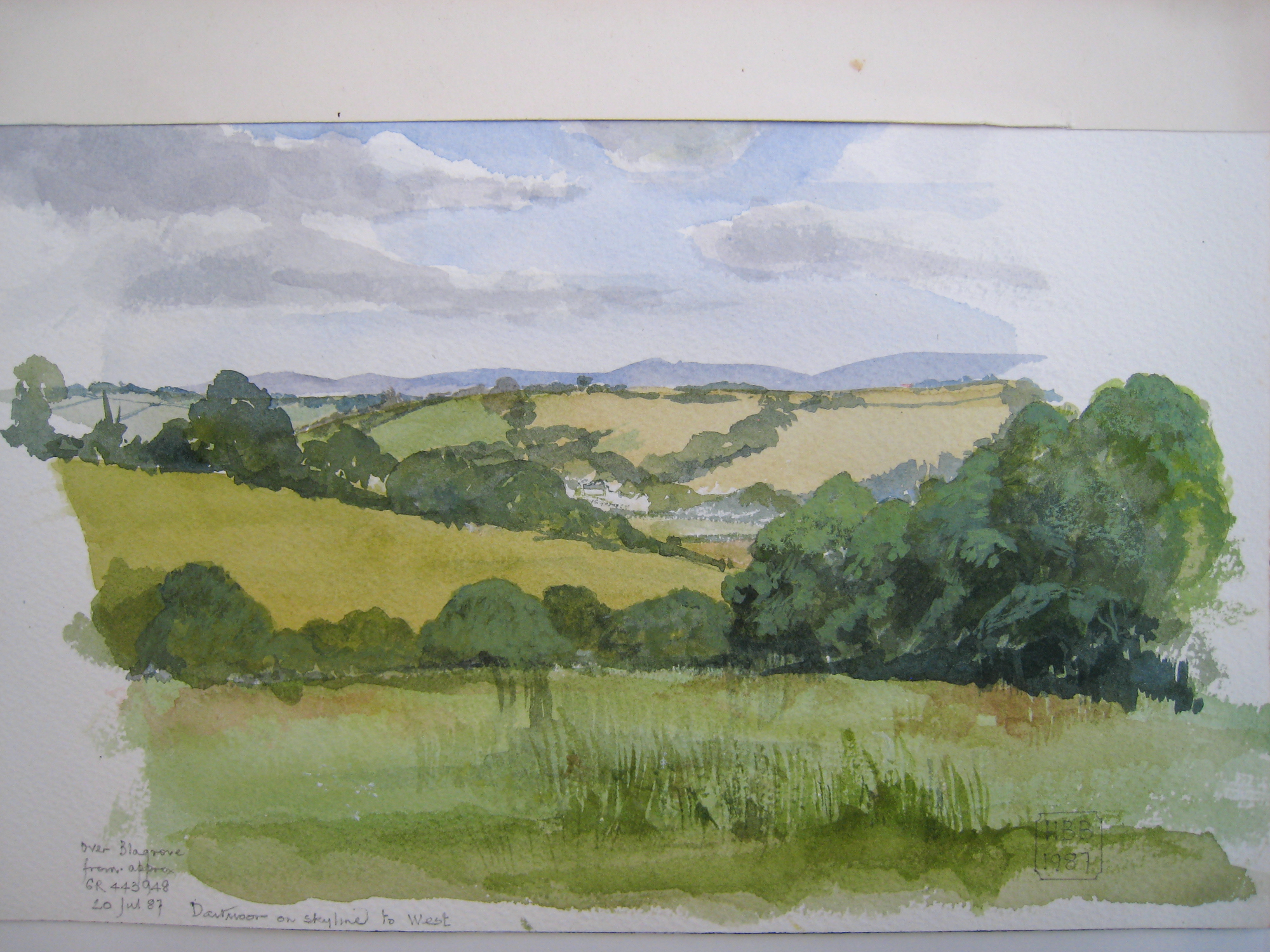 Germansweek landscapes, over Blagrove from approx GR443948, Dartmoor on skyline to West