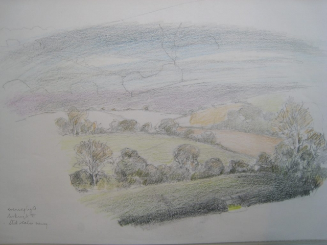 Germansweek landscapes, evening light looking to E, from Dartmoor View