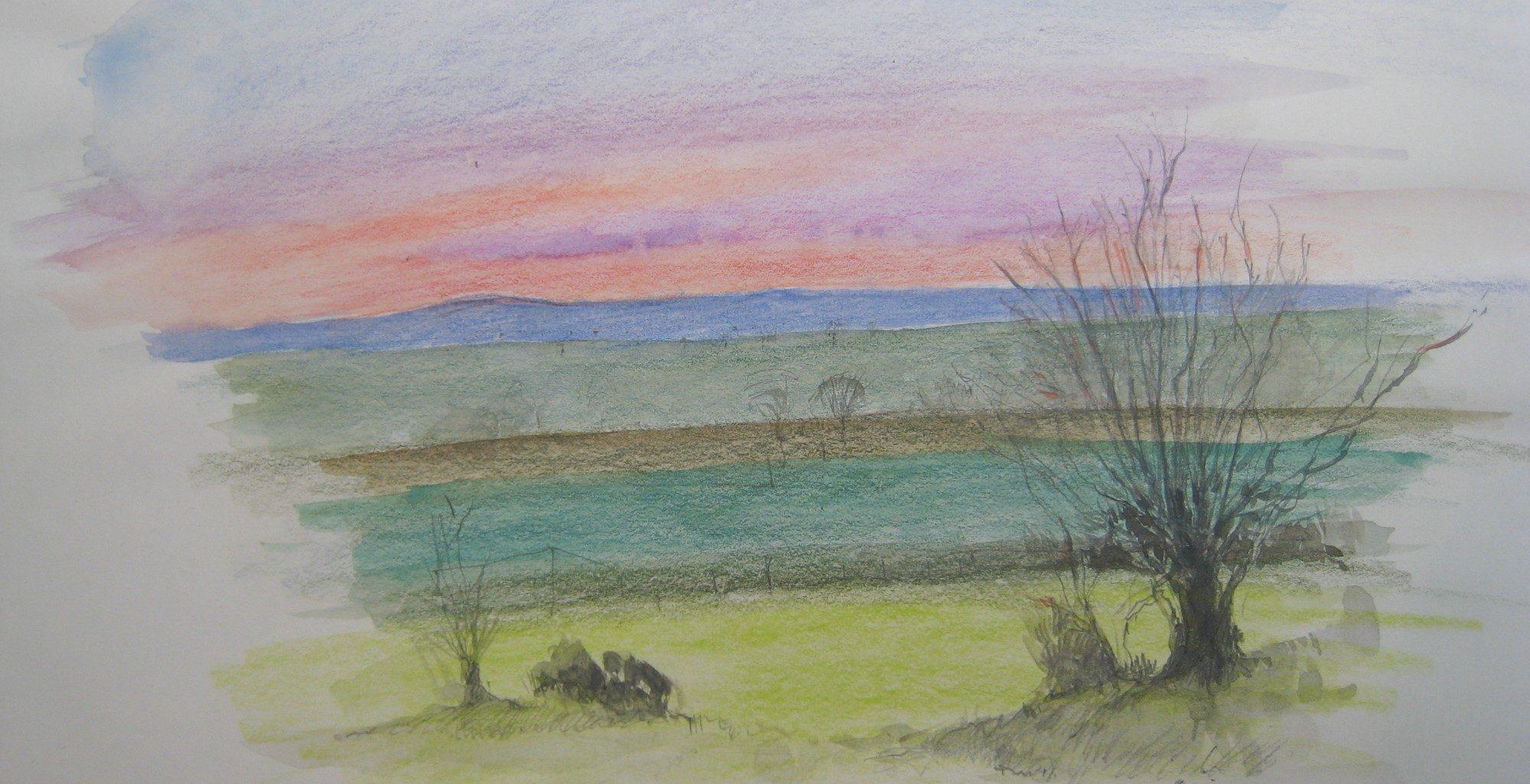 Germansweek view rainbow sunrise over Dartmoor
