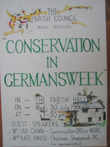 Germansweek life, Parish Council Notice, 30 July 1986