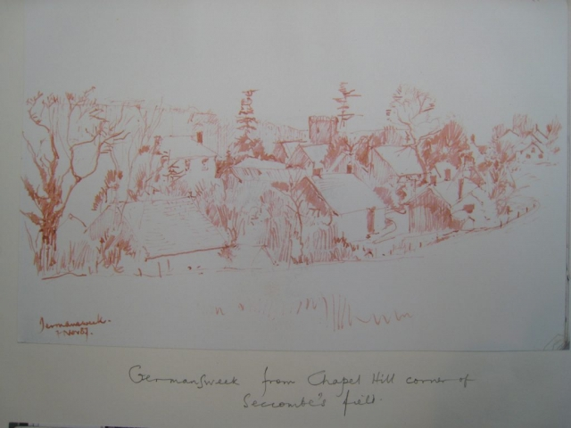 Drawing of Germansweek from Chapel Hill corner of Seccombe's field, November 1987