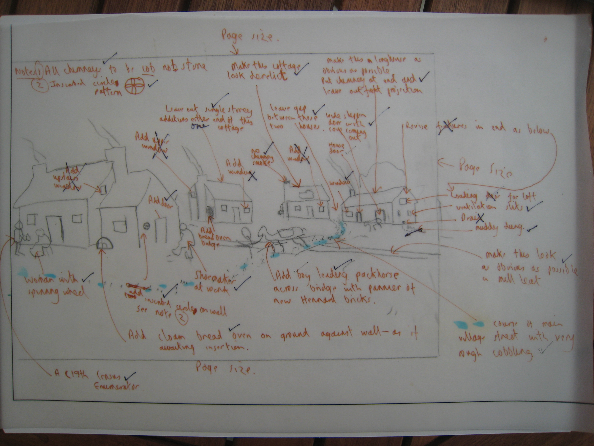 A drawing of Hennard Mill develops: comments on first draft