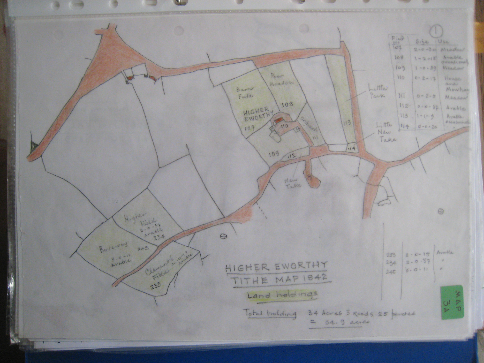 Higher Eworthy plan from tithe map 1842