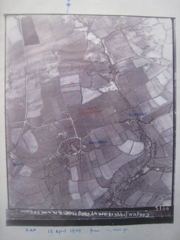 Eworthy and Higher Eworthy, annotated RAF aerial photograph 13 April 1947