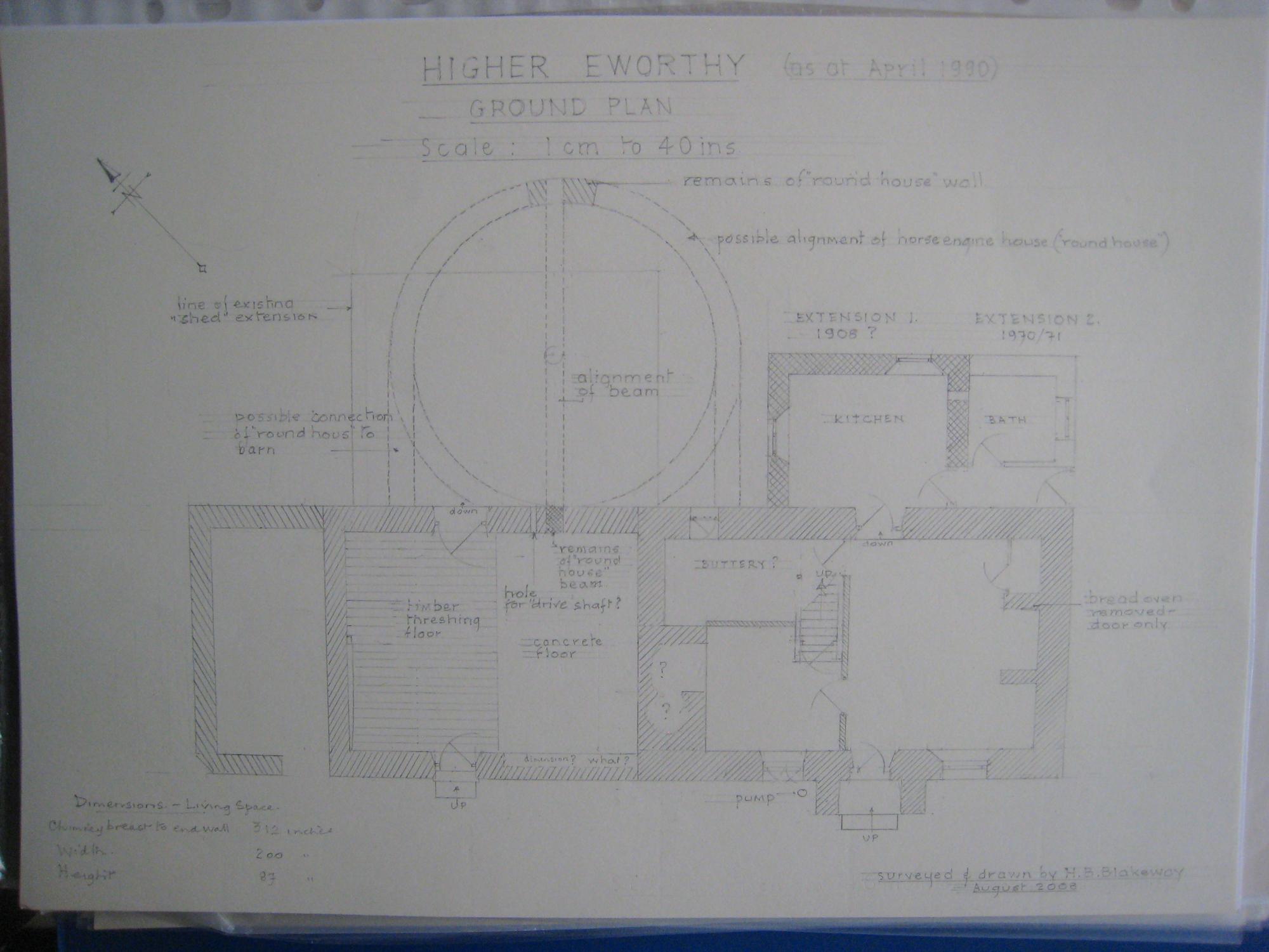 Higher Eworthy Ground Plan 1990