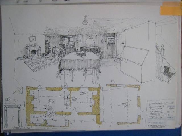 Higher Eworthy living room, drawing