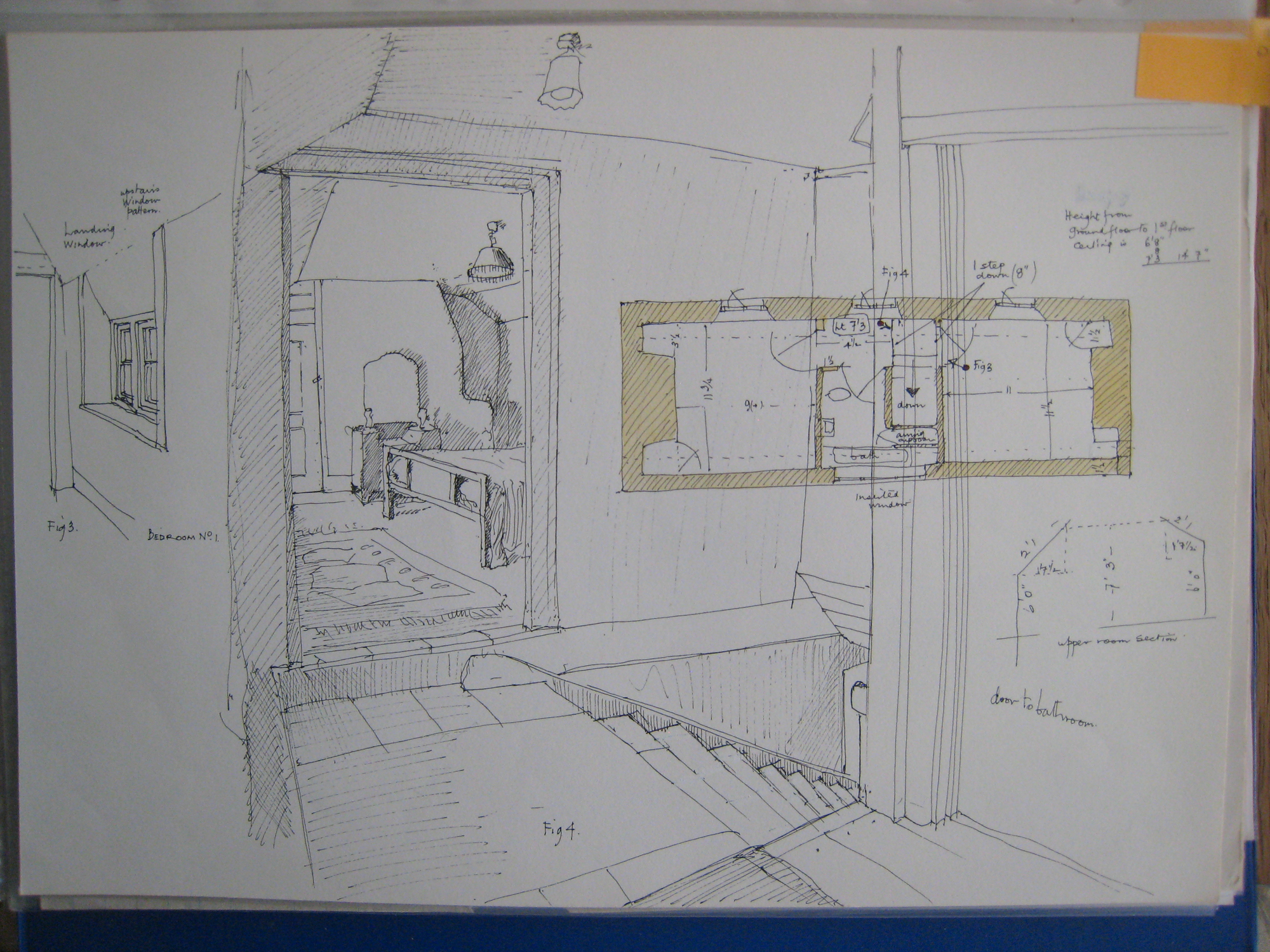 Higher Eworthy upstairs plan and drawing