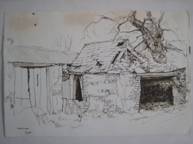 Homeliving: ruined Roundhouse?, b&w drawing