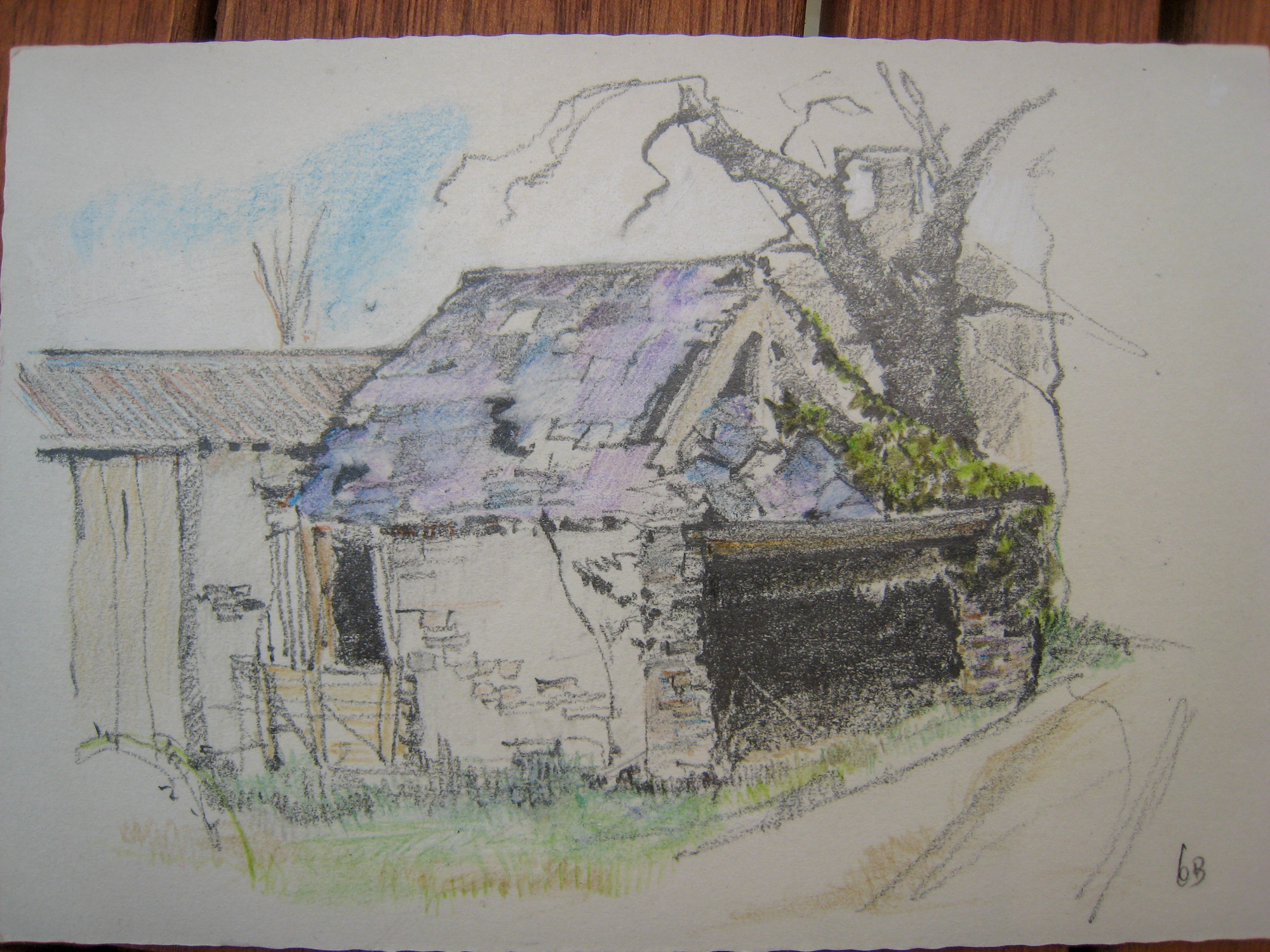 Homeliving: ruined Roundhouse?, coloured drawing