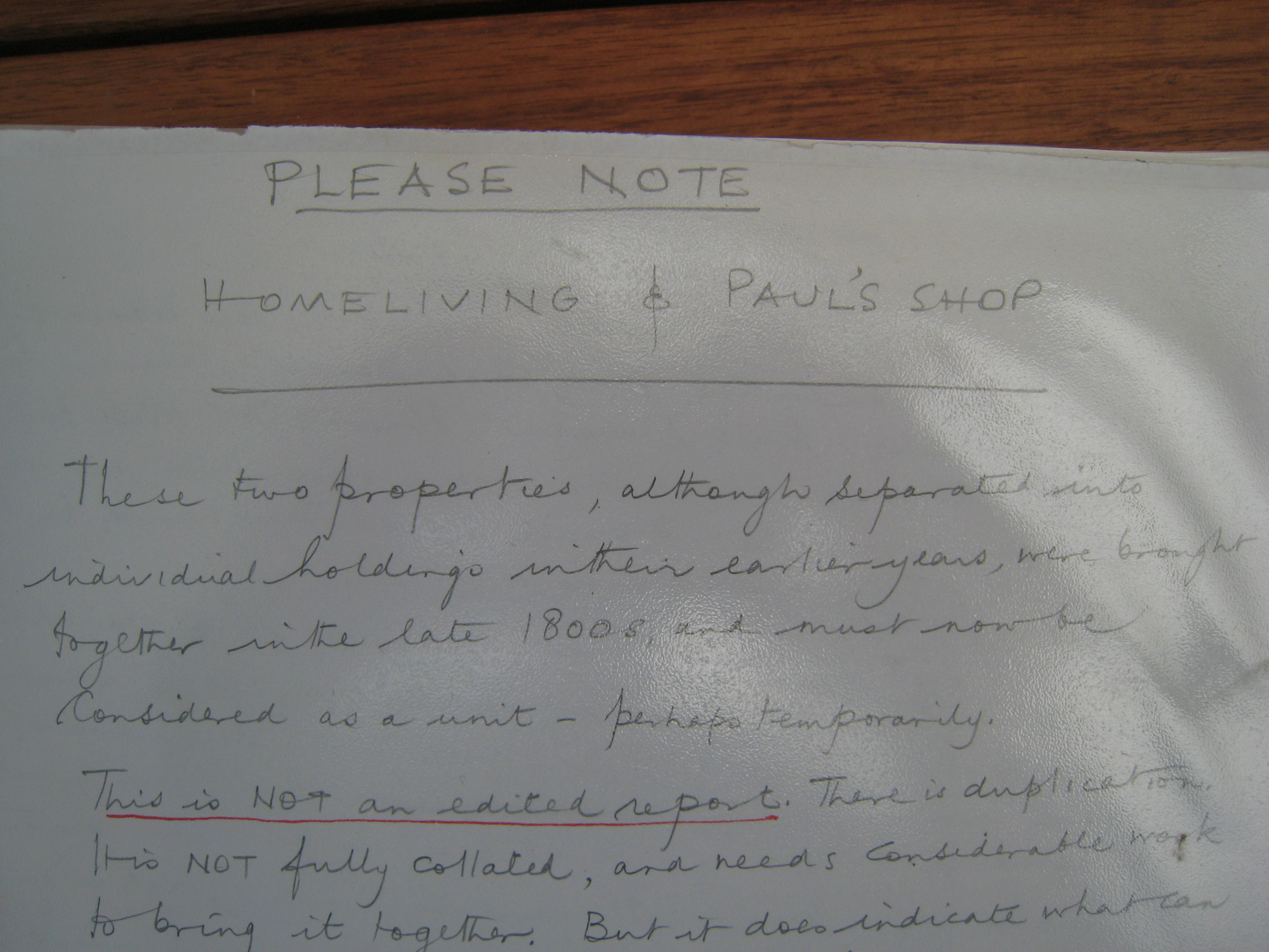 Homeliving and Paul's Shop, 'Please note ...'