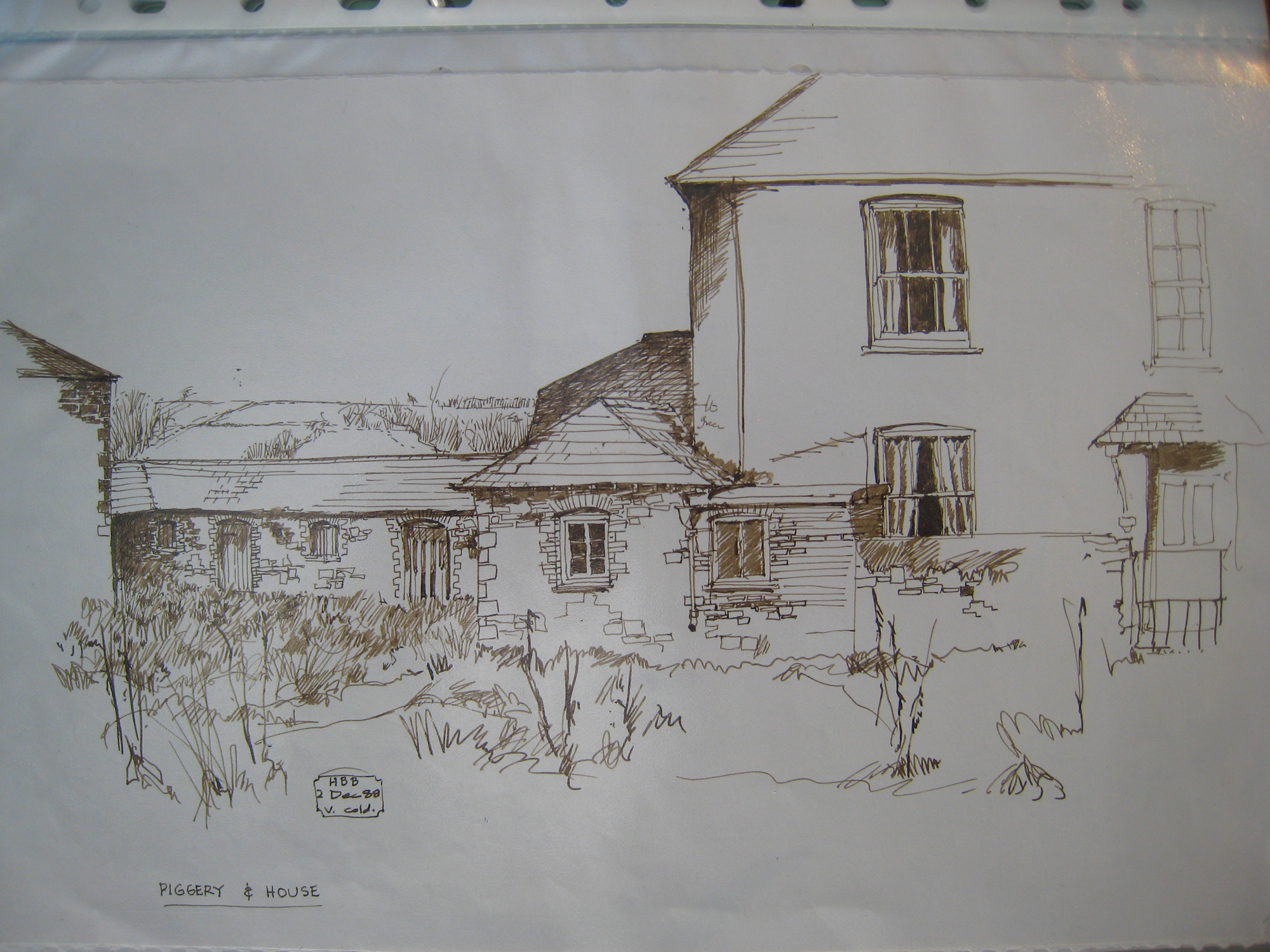 Homeliving piggery and house, drawing from front