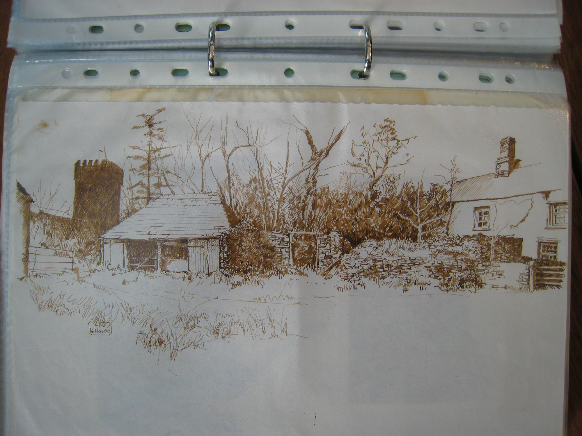 Homeliving to St German's church, drawing, 1988