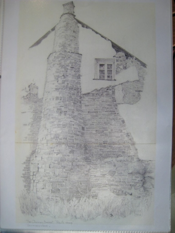 The chimney breast of Paul's Shop from outside, drawing