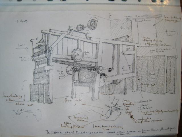 LRB Threshing Machine - a typical static threshing machine found in a barn at Lower Reeve, Brushford