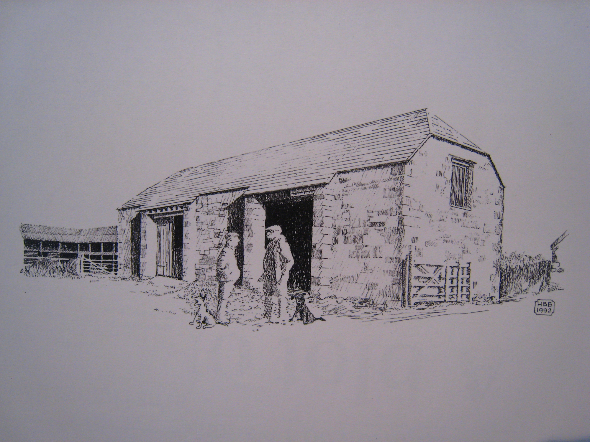 NT Killerton Estate, farm buildings - barn, two men, two dogs