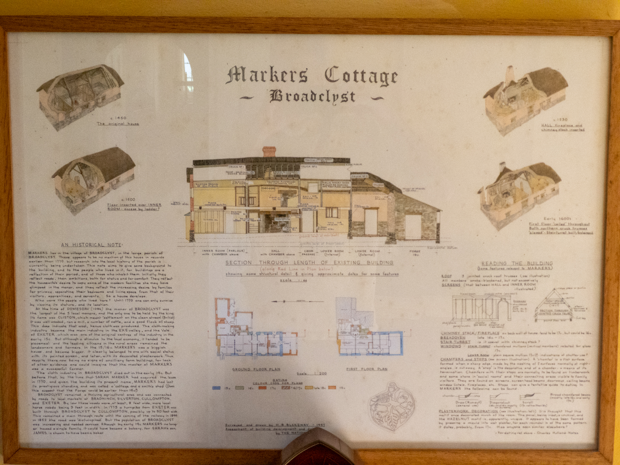 NT Markers Cottage, Broadclyst, Killerton Estate, old interpretation poster in situ