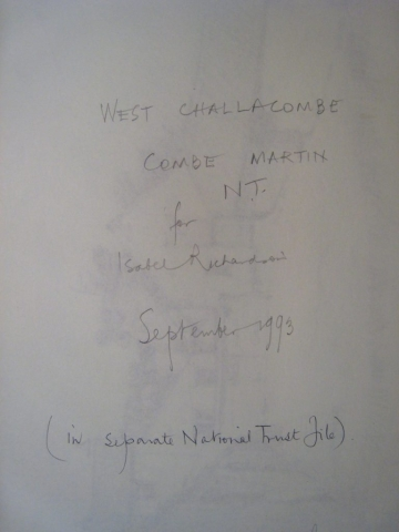 West Challacombe, Combe Martin, National Trust title page