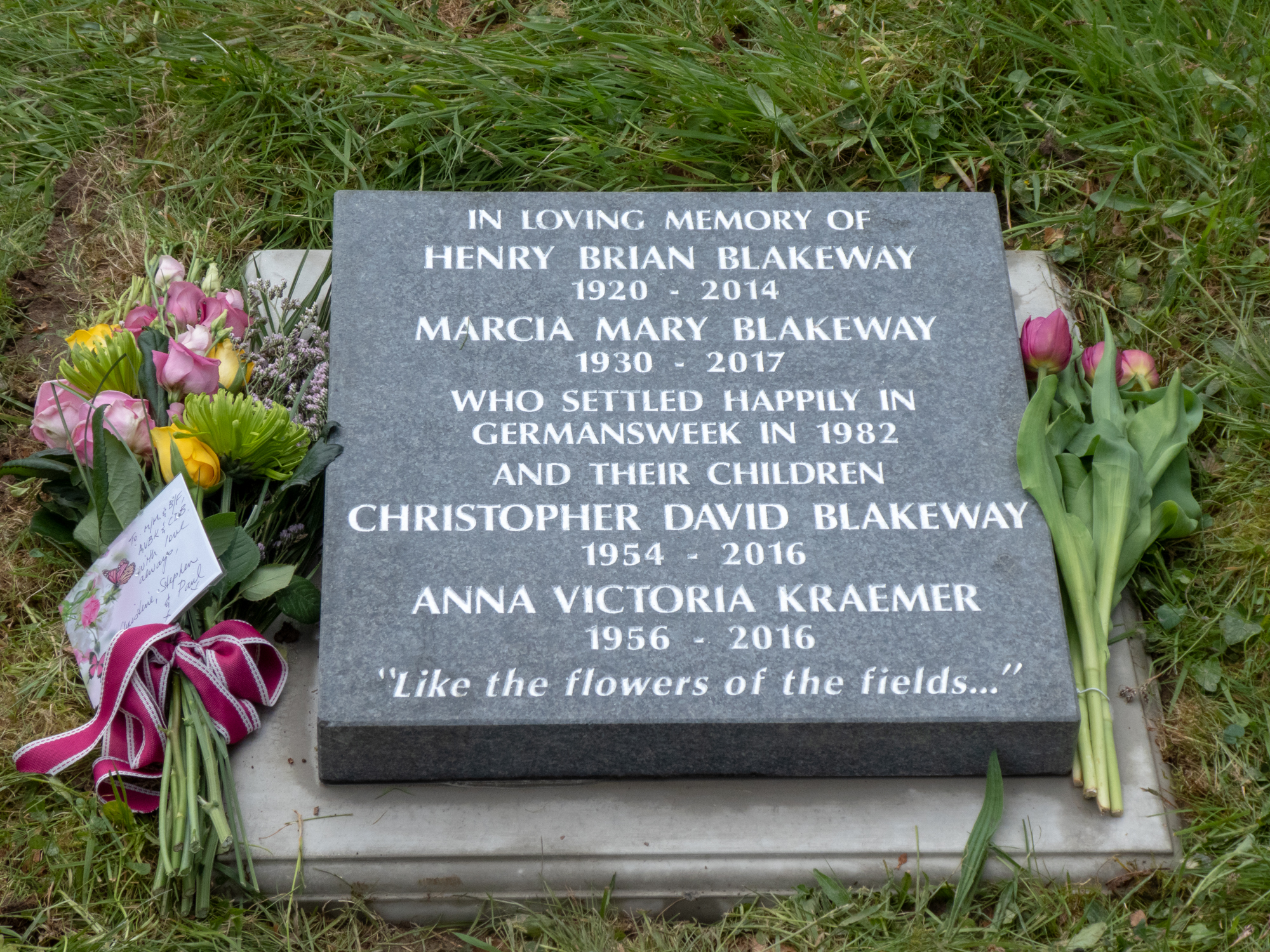 Memorial Stone in Germansweek churchyard for Brian and Marcia Blakeway, and their two older children, Christopher and Anna - laid on 30 April 2018