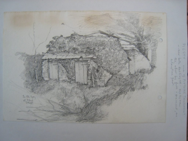 The Old Pigsty at Pittons Tenement, drawing, 1989