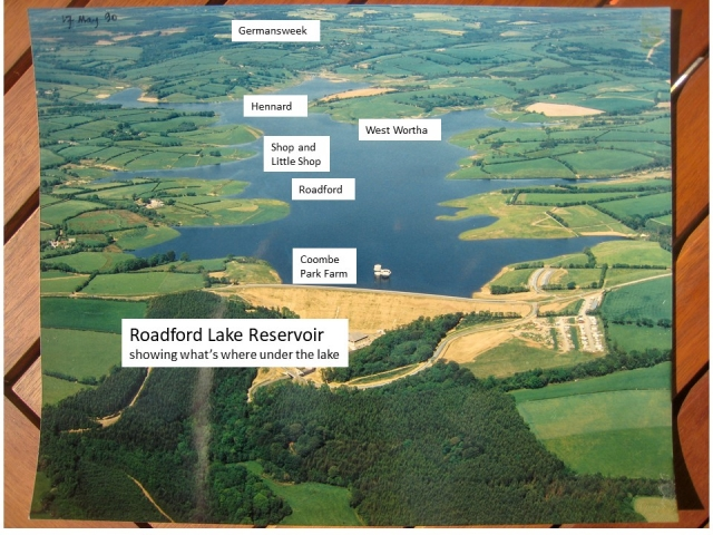 Aerial photograph of Roadford Lake showing what's where under the lake