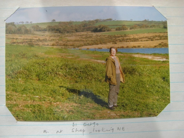 Marcia at Shop site, cleared & Roadford Lake filling, 31 October 1990
