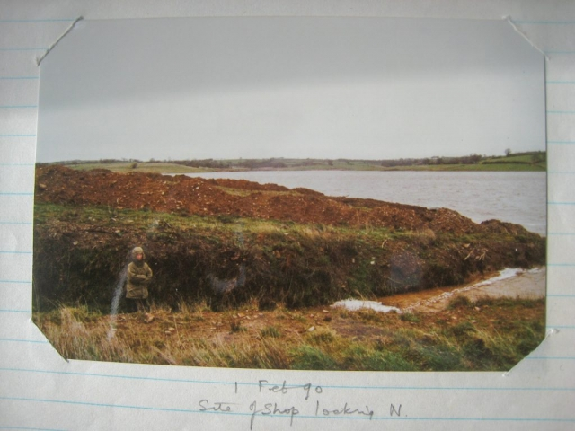 Marcia at Shop site, cleared & Roadford Lake filling, 1 February 1990