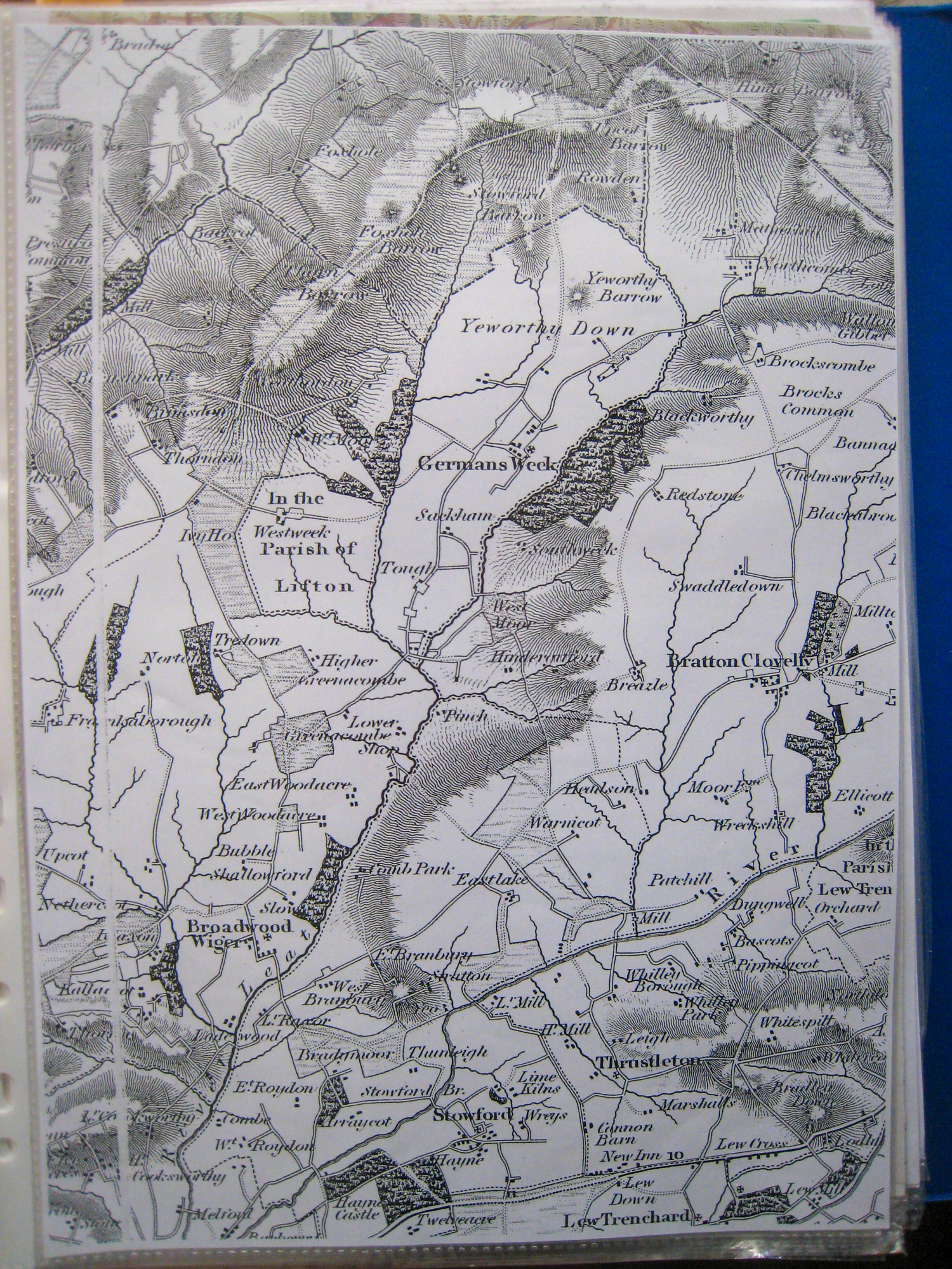 Historical map of the Germansweek and Roadford area