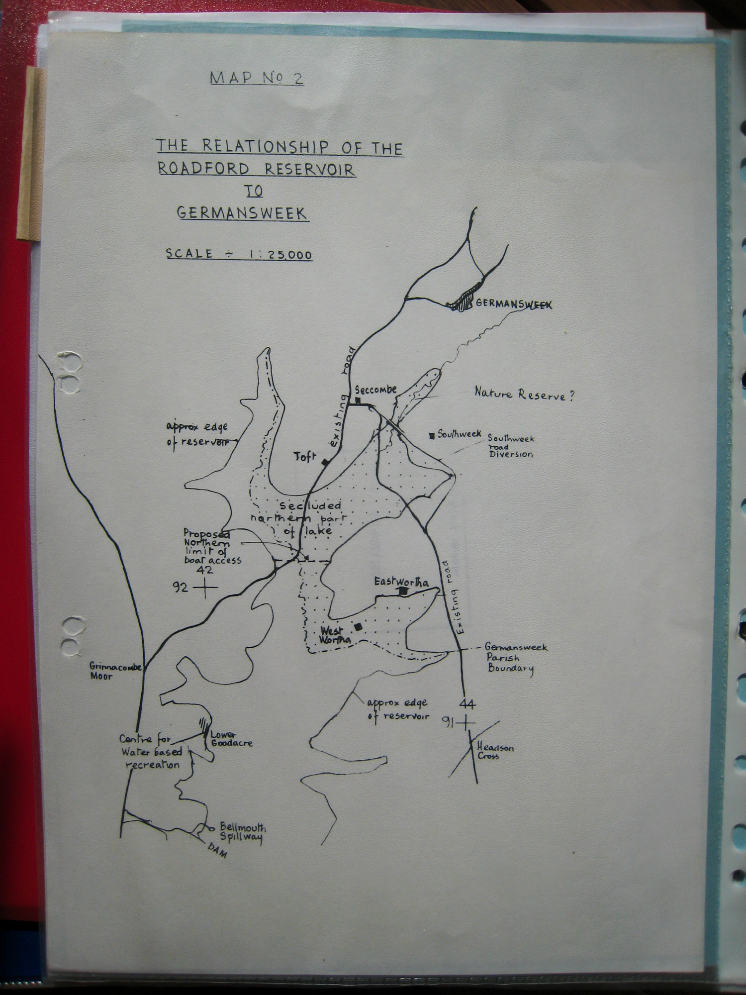 Modern map of the Roadford and Germansweek area