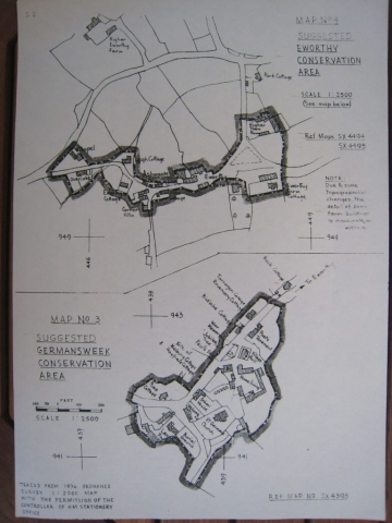 Plan maps of Eworthy and Germansweek showing suggested conservation areas