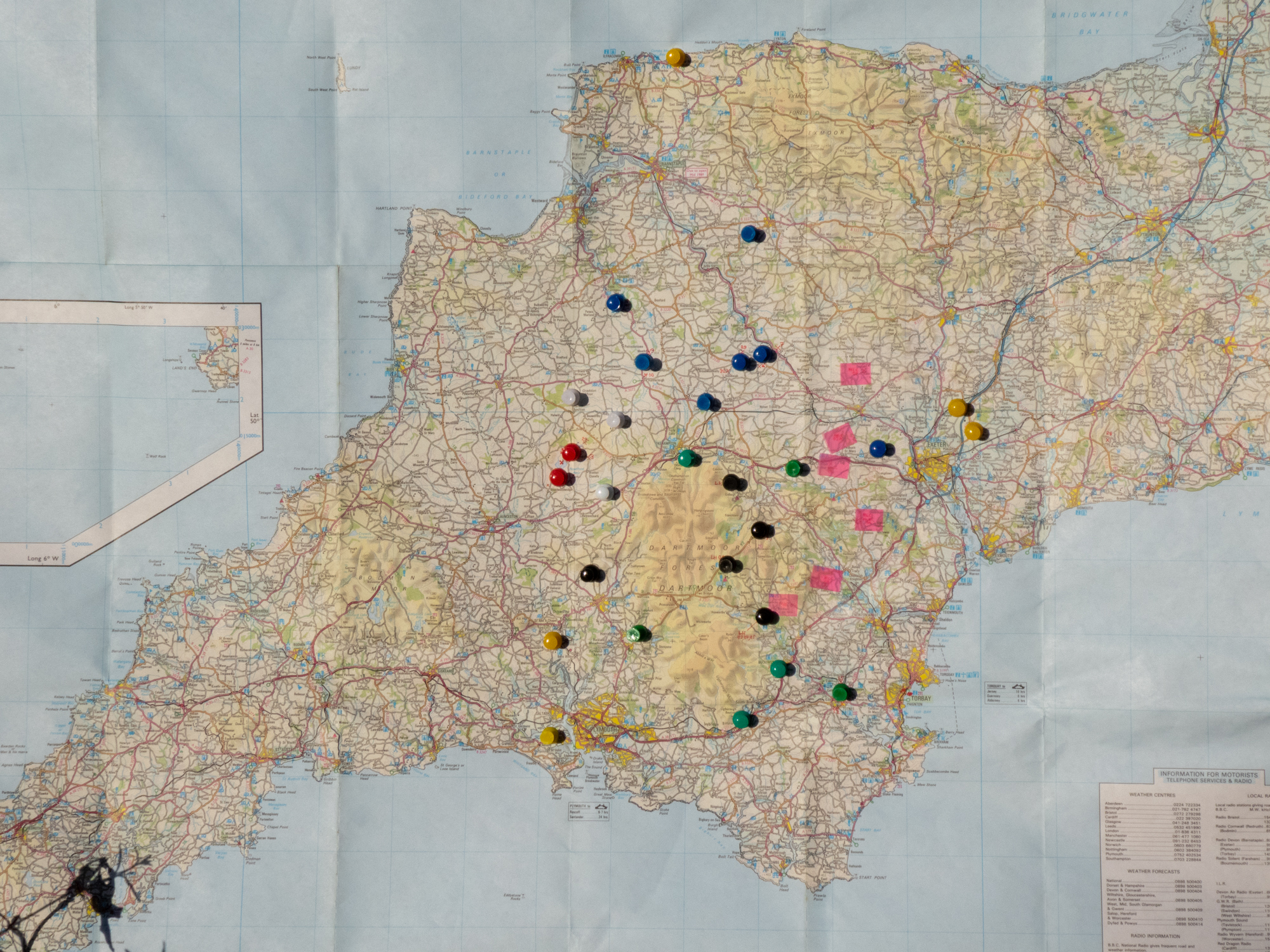 Old map of Devon showing geographical spread of buildings included in the Brian Blakeway archive.